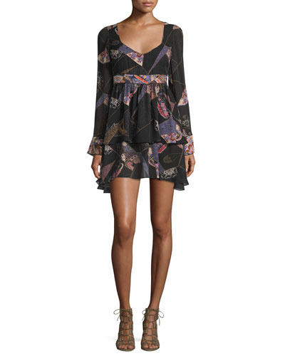 Lilou Long-Sleeve Printed Dress, Black/Multi
