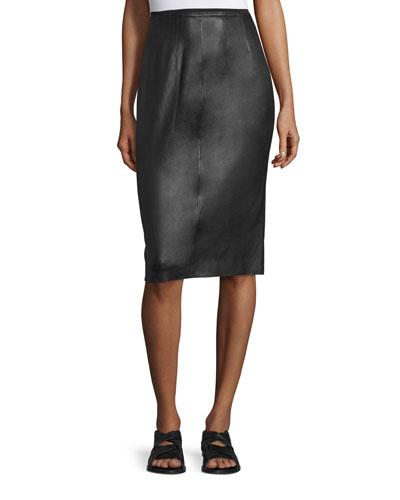 Phoebe Lamb Leather Pencil Skirt, Black