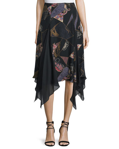 Reza Asymmetric-Hem Skirt, Black Multi