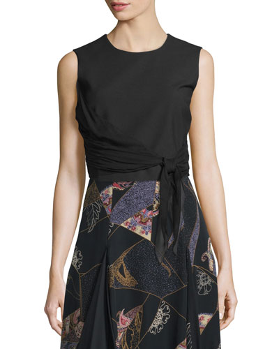 Judith Sleeveless Waist-Tie Top, Black