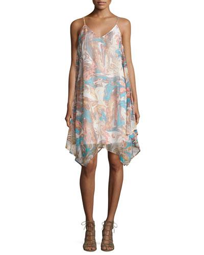 Celeste Marble-Print A-Line Dress, Natural