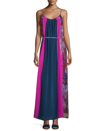 Celeste Mixed-Print Silk Maxi Dress, Berry