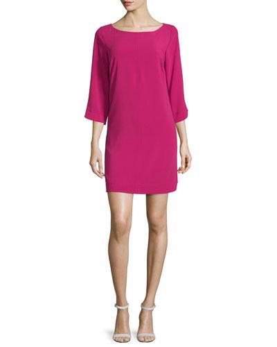 3/4-Sleeve Round-Neck Shift Dress, Pink Fizz