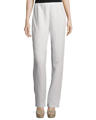 Straight-Leg Gauze Pants, White, Plus Size