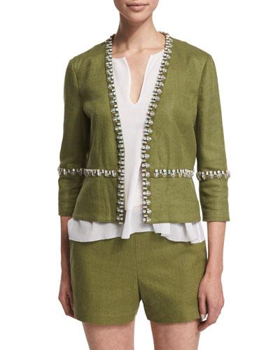 Embellished Linen Burlap Short Jacket