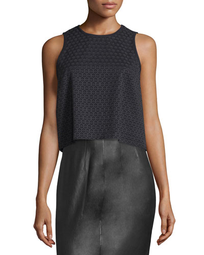 Evie Sleeveless Cotton Honeycomb Top, Black
