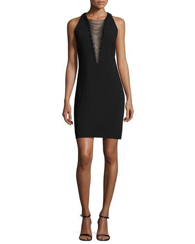 Sleeveless Illusion Beaded V-Neck Cocktail Dress