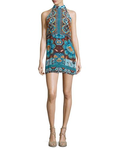 Halter-Neck Printed Mini Dress, Blue