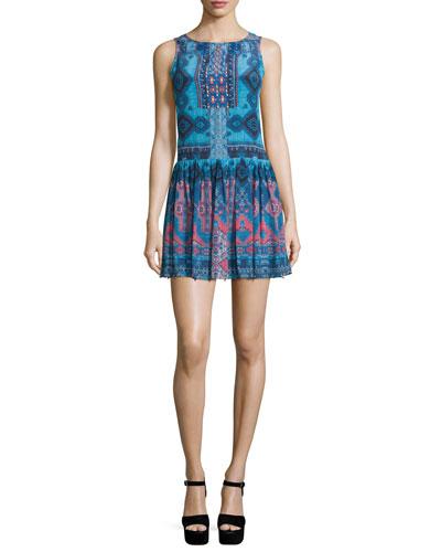 Sleeveless Rug-Print Mini Dress, Blue