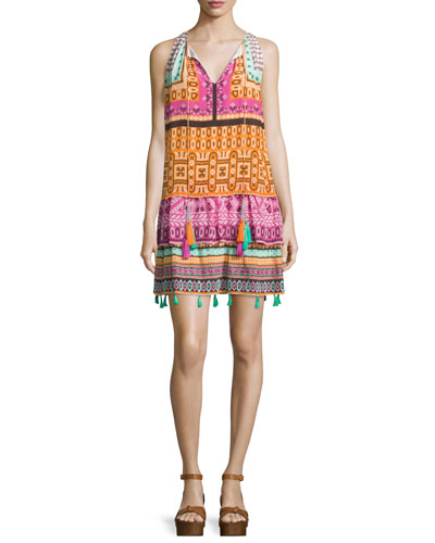 Sleeveless Cross-Stitch Printed Dress, Multi Colors