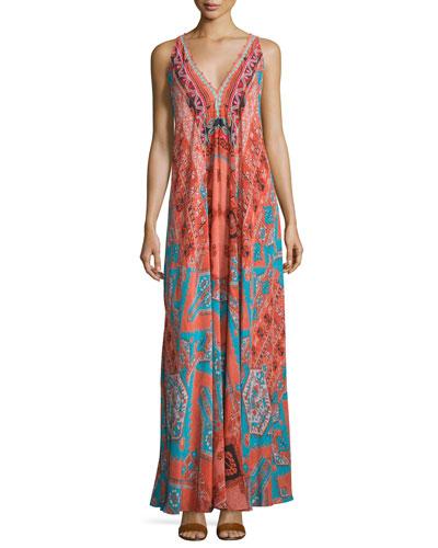 Sleeveless V-Neck Rug-Print Maxi Dress, Orange