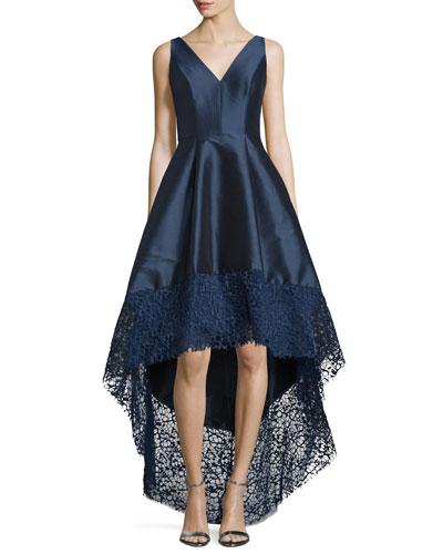 Sleeveless High-Low Midi Cocktail Dress