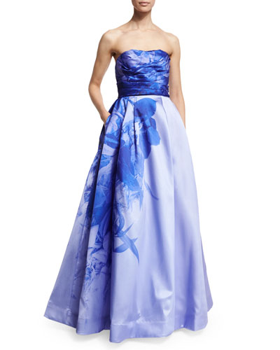 Strapless Sweetheart-Neck Ombre Floral-Print Ball Gown