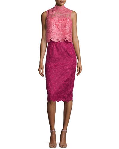 Sleeveless Colorblock Popover Lace Dress, Sorbet