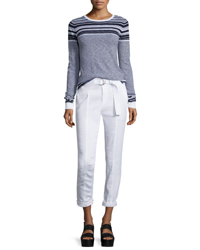 Linen-Blend Belted Trousers, White