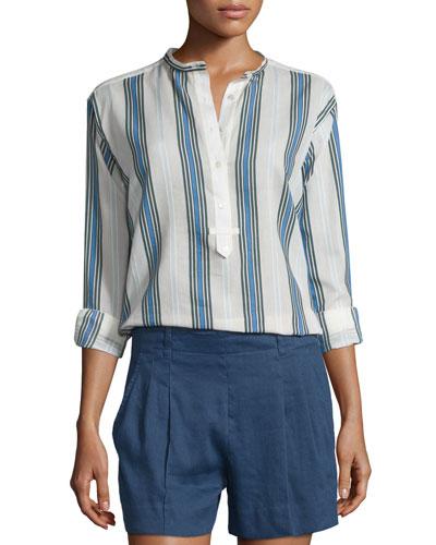 Multi-Striped Silky Henley Shirt