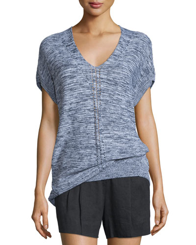 Marled Knit Short-Sleeve Sweater