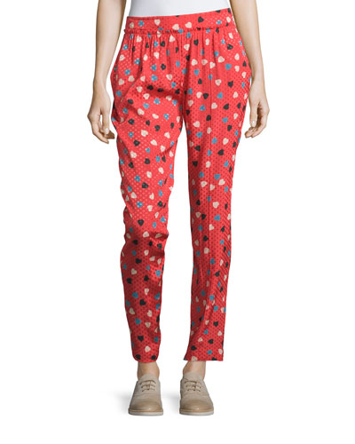 Pleated-Front Heart-&-Dot-Print Pants, Red/Multi