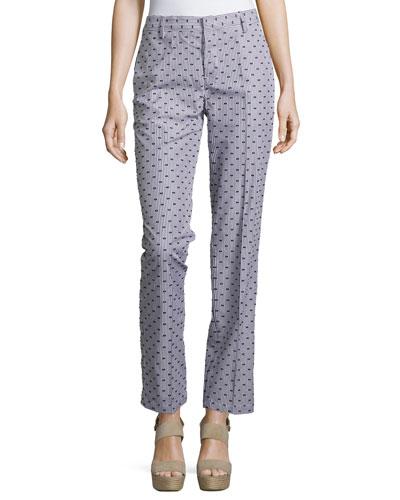 Mid-Rise Dot-Print Ankle Pants, Black/White