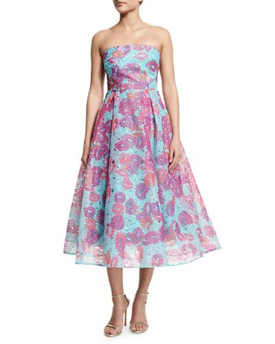Strapless Floral Organza Fit & Flare Midi Dress