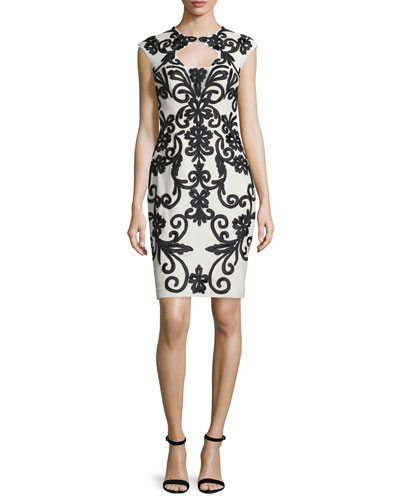Cap-Sleeve Two-Tone Lace Cocktail Dress