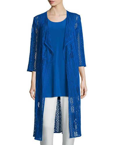 3/4-Sleeve Mix-Crochet Duster Jacket, Royal, Plus Size