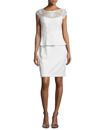 Lace Peplum Sheath Cocktail Dress