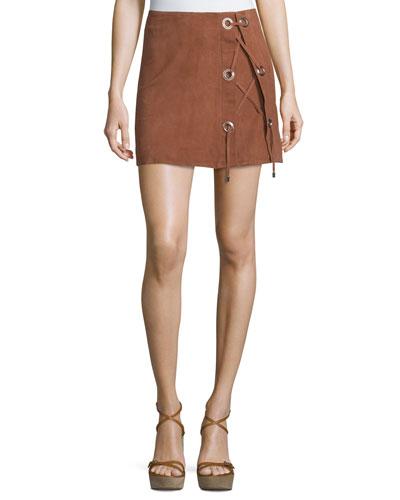 Scholastica Lace-Up Suede Skirt, Orange