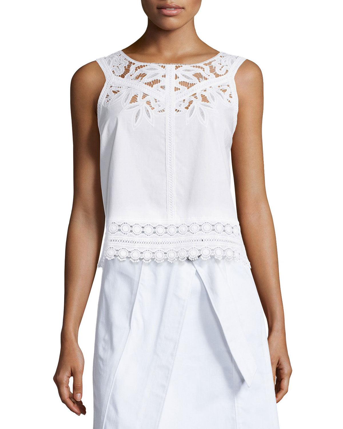 Lydia Sleeveless Embroidered Cutwork Top