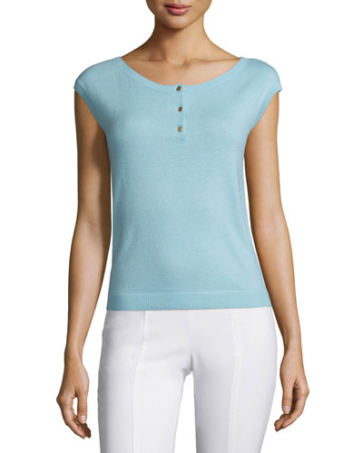 Sydney Button-Front Cashmere Top, Crete