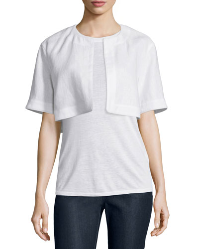 Bella Short-Sleeve Cropped Jacket, White