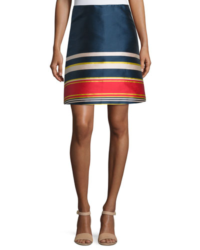 Silk A-Line Skirt, Multicolor