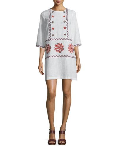Embroidered 3/4-Sleeve Tunic Dress, Cream
