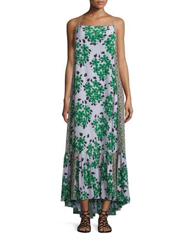 Sleeveless Floral Silk Maxi Dress, Green