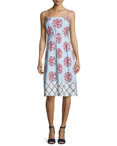 Sleeveless Floral Faille Shift Dress, Blue