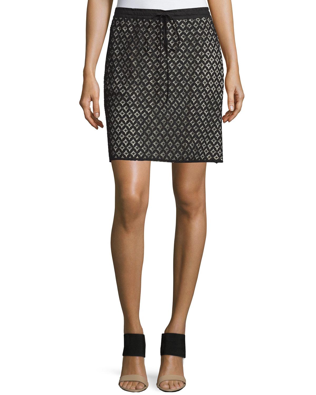 Drawstring-Waist Lace Skirt, Black