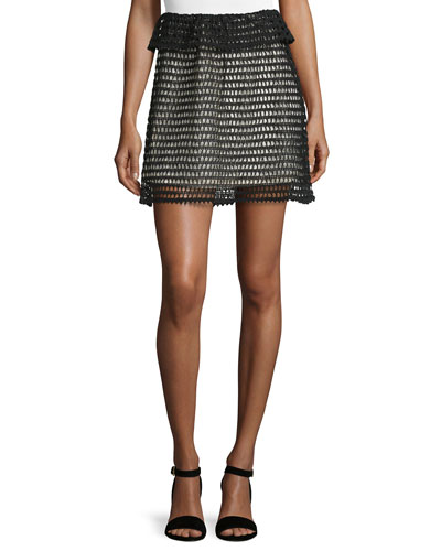 Ruffle-Waist Crochet Skirt, Black