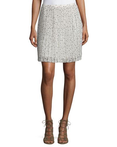 Printed Plisse Skirt, Beige/Multi