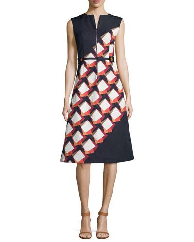 Diagonal Square Zip-Front Midi Dress, Black