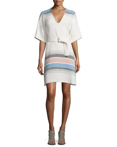 Short-Sleeve Woven V-Neck Dress