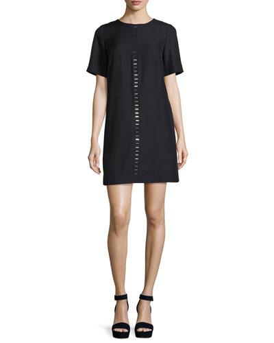 Short-Sleeve Metal-Stud Shift Dress, Black