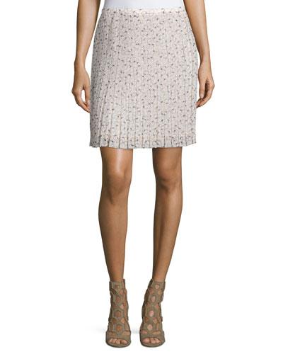 Printed Plisse Skirt, Pink/Multi