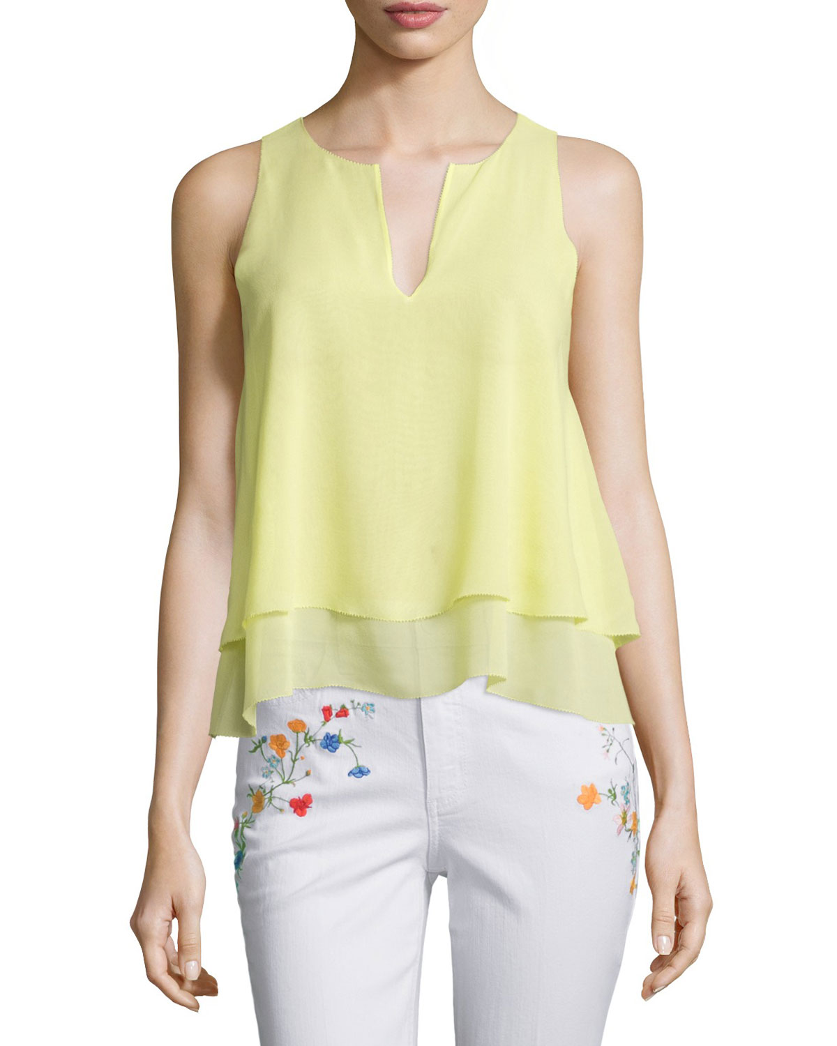 Alex Layered Sleeveless Silk Top, Lemon Curd