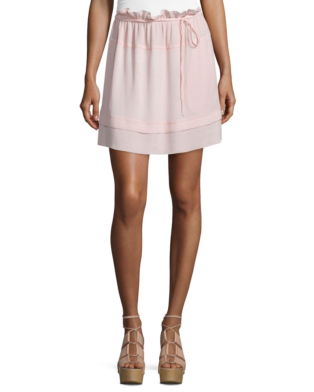Ruffled Chiffon Tie-Waist Skirt