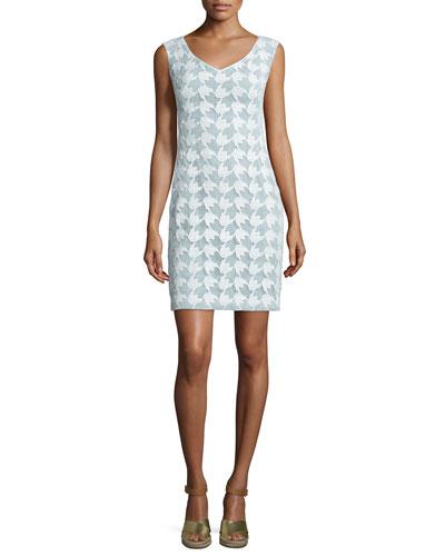 Brooklyn Sleeveless Lace Sheath Dress, White/Mint
