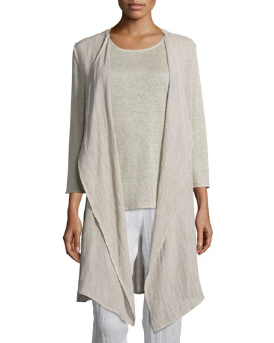 Crinkled Long Linen Vest, Plus Size