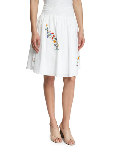 Cassie Floral-Embroidered Skirt