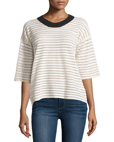 Half-Sleeve Two-Tone Striped Sweater, Blush/White