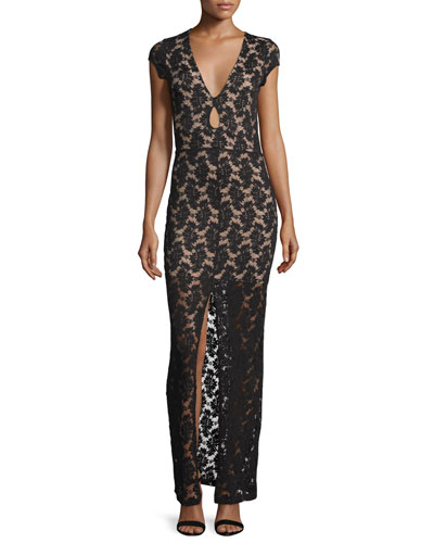 Cap-Sleeve Lace Maxi Dress, Black