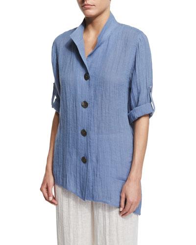 Crinkled Linen Angled Shirt, Blue Mist, Plus Size